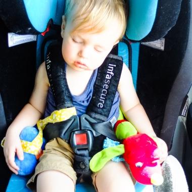 Sleepy baby post-flight